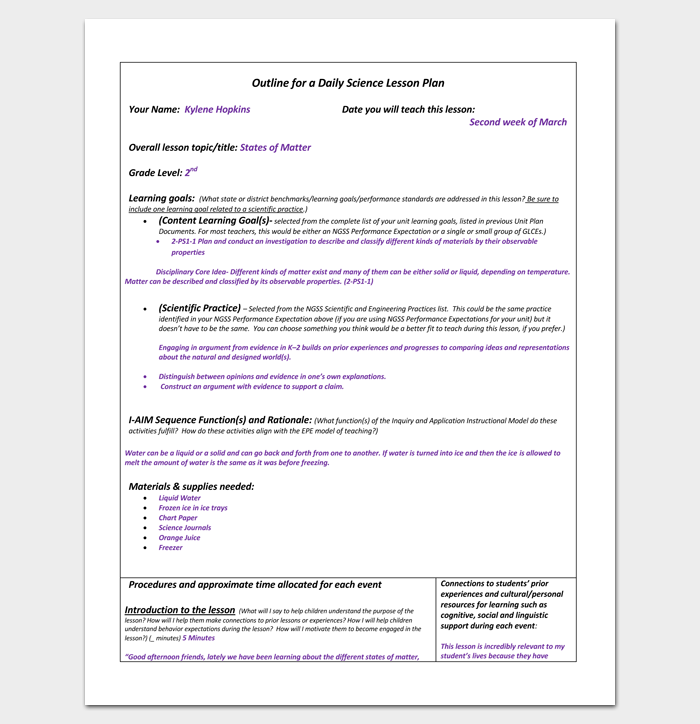 Daily Lesson Plan Outline Format