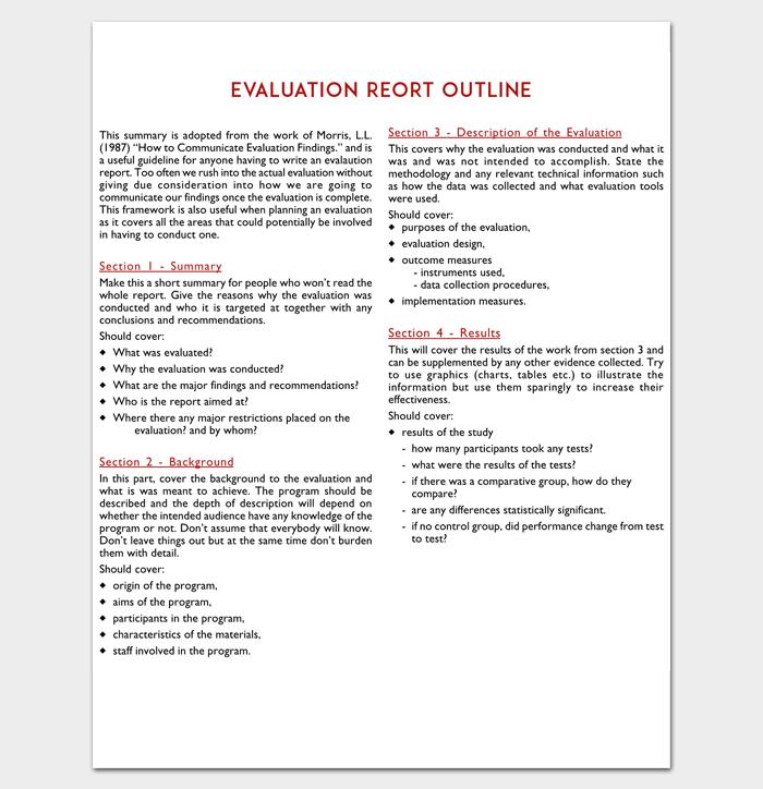 Evaluation Report Outline for PDF