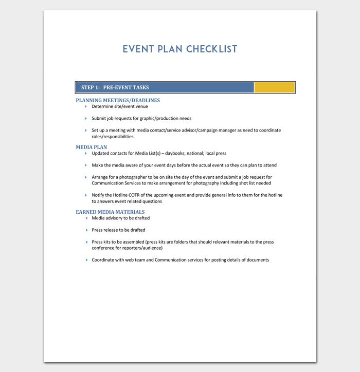 Event Plan Checklist Template