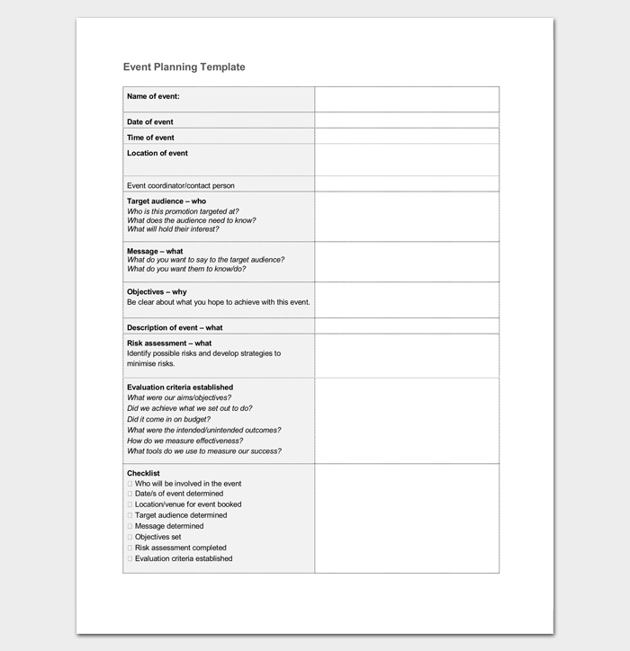 Event Planning Template Word Doc