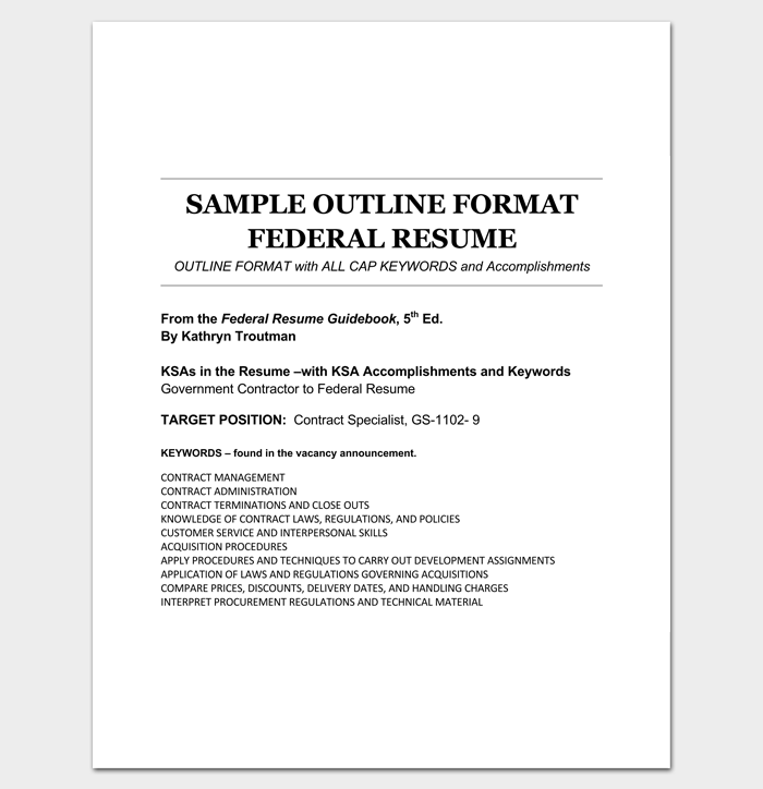 Federal Resume Outline Format Example