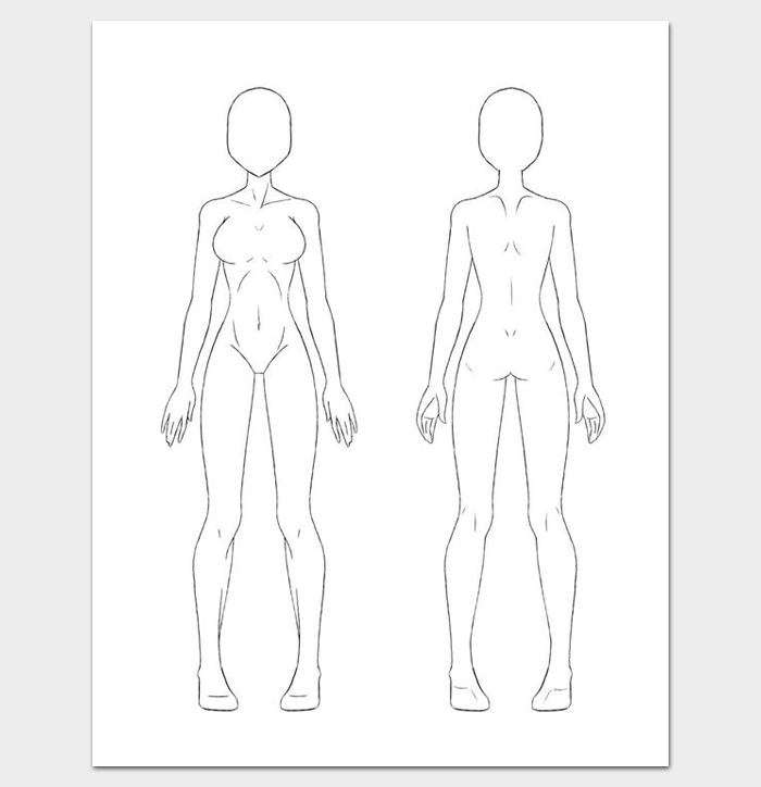 Female Body Outline Front and Back