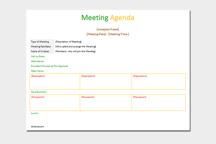 Formal Meeting Agenda Template Word Doc