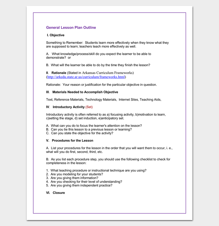 General Lesson Plan Outline Format