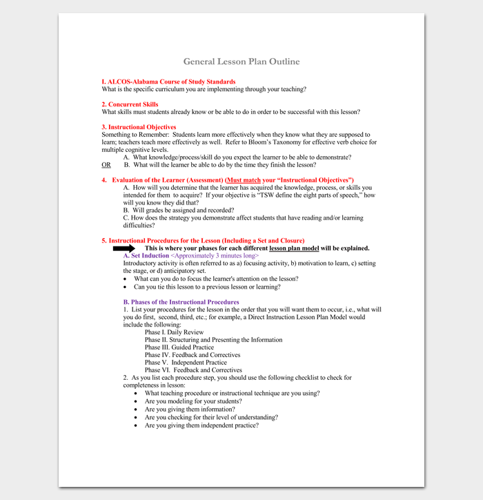 General Lesson Plan Outline for PDF