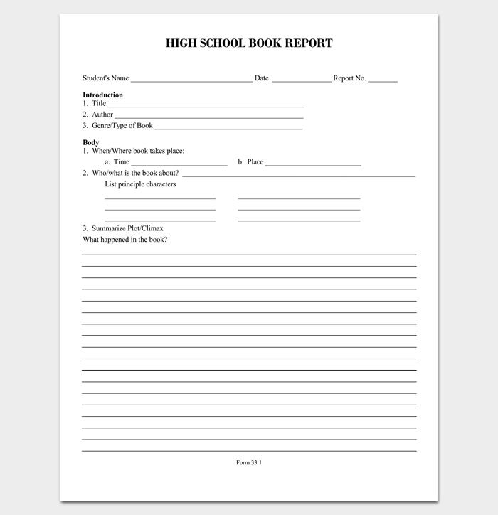 High School Book Report Outline Format