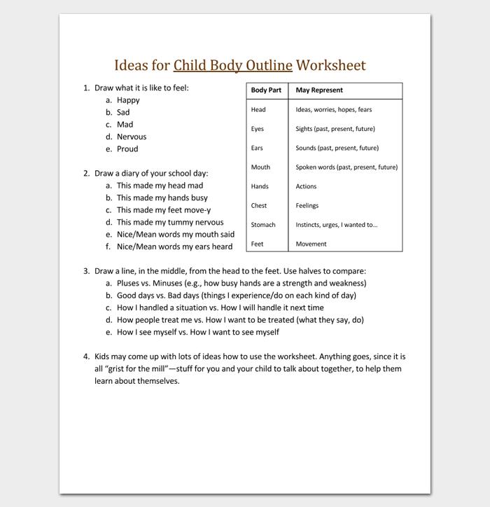 Ideas for Child Body Outline Worksheet