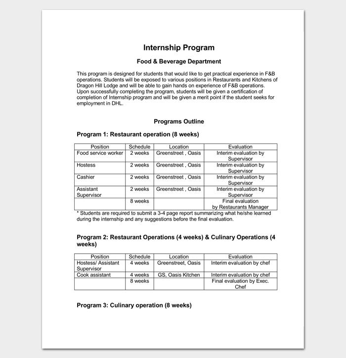 Internship Program Outline Template