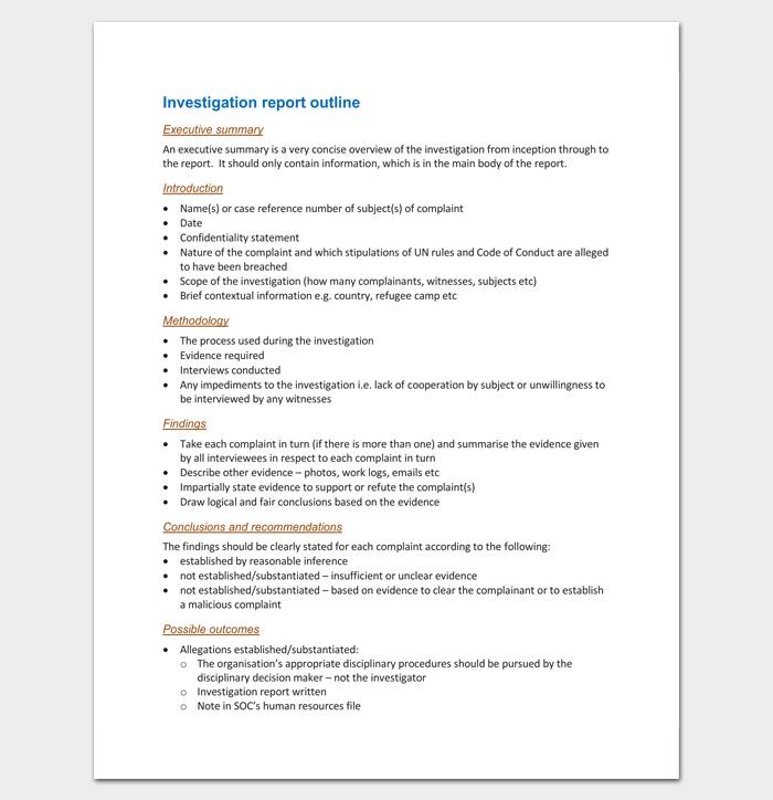 Investigation Report Outline