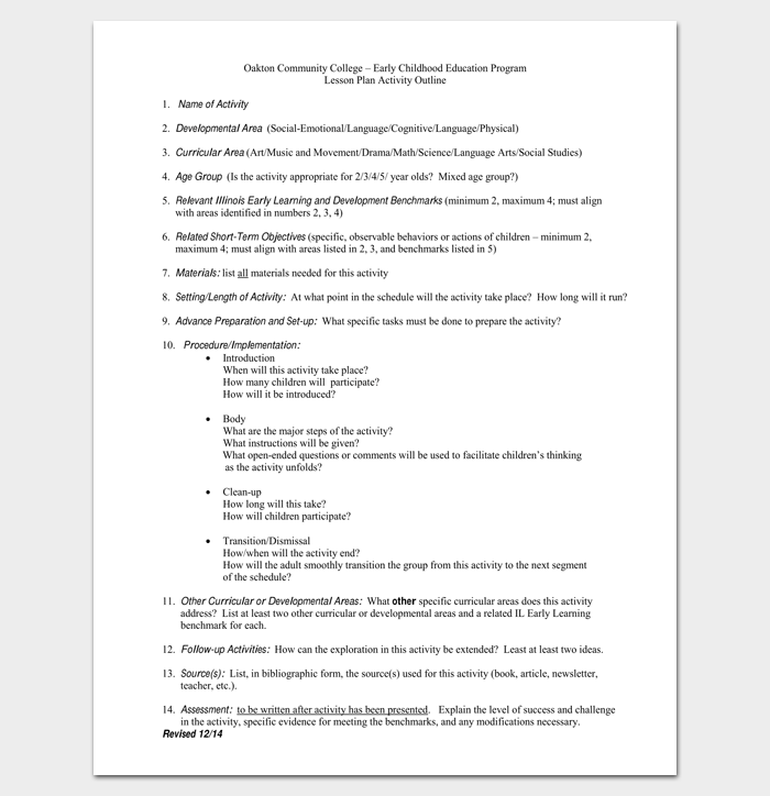 Lesson Plan Activity Outline Template