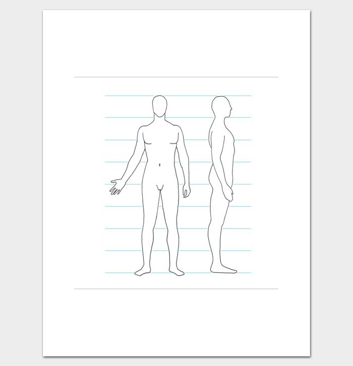 graphic relating to Body Outline Printable known as Human Overall body Determine Template - 32+ Printable Worksheets Samples