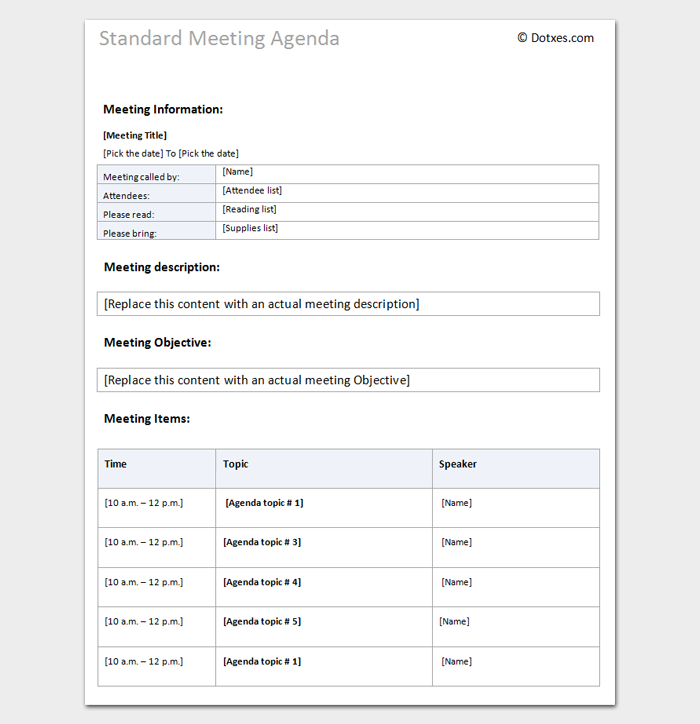 Meeting Agenda Template Word Doc