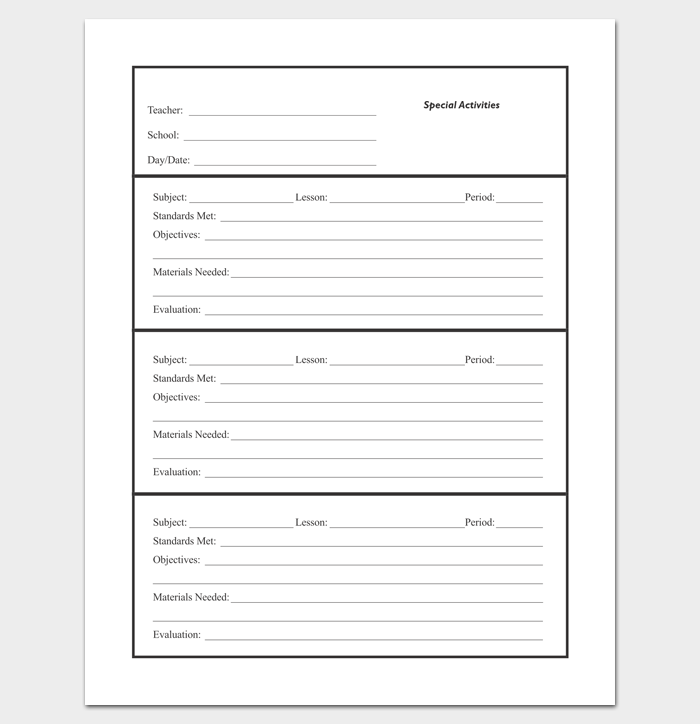 Multiple Class Lesson Plan Outline Template