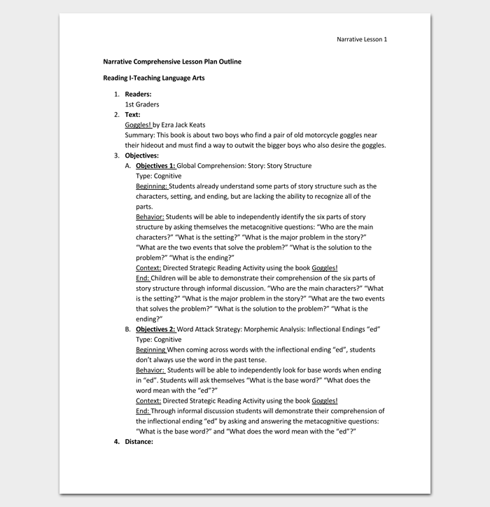 Narrative Comprehensive Lesson Plan Outline Format