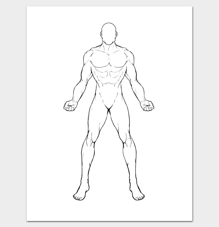 Outline Drawing of Human Body Template