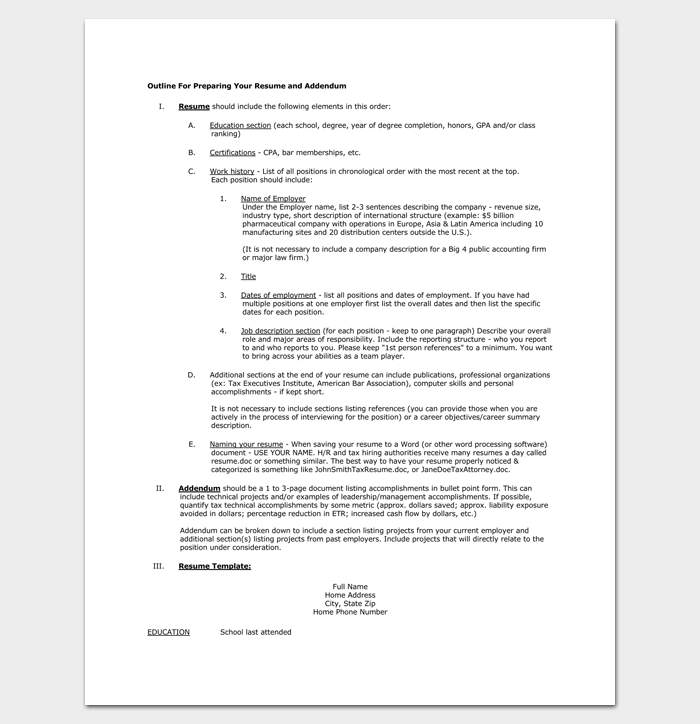Outline for Preparing your Resume