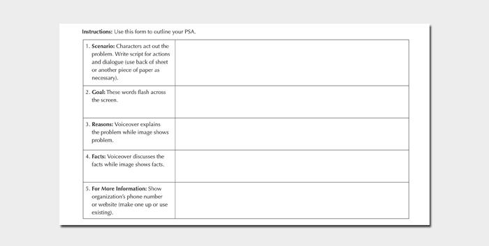 PSA Script Outline Sheet