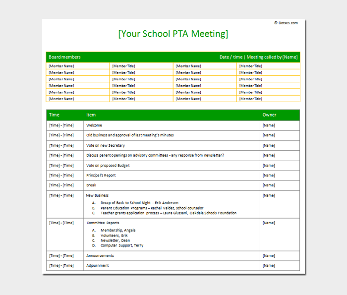 PTA Meeting agenda Sample