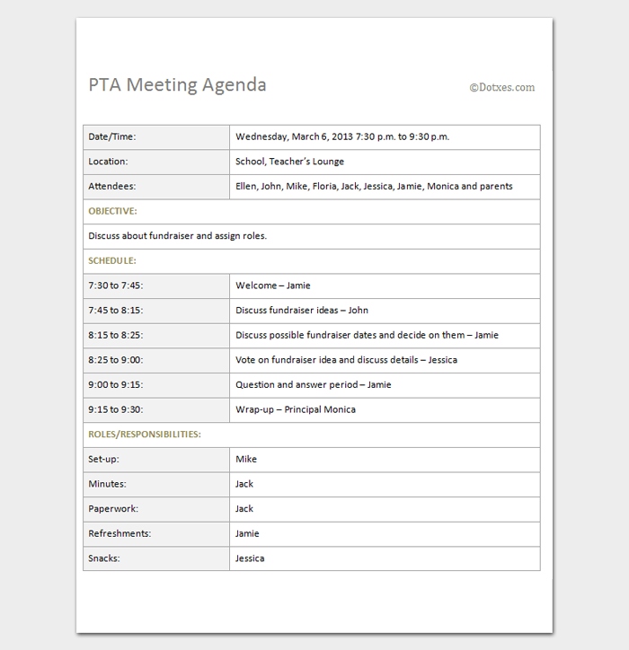 PTA meeting agenda Outline Template