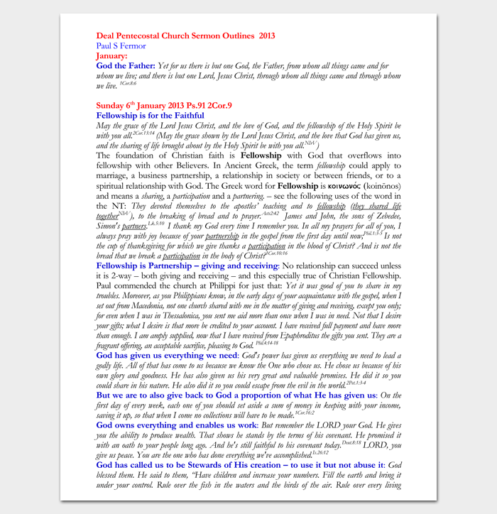Sermon Outline Template - 12+ For Word and PDF Format