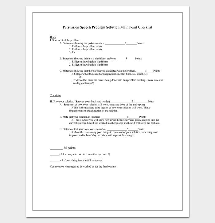 Persuasive Speech Problem Solution Outline Format