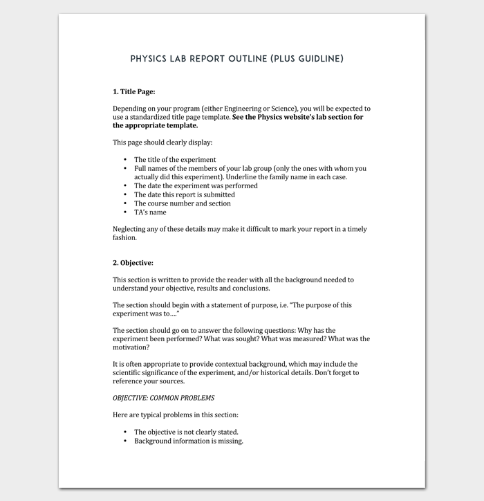 Physics Lab Report Outline Template (Plus Guideline)
