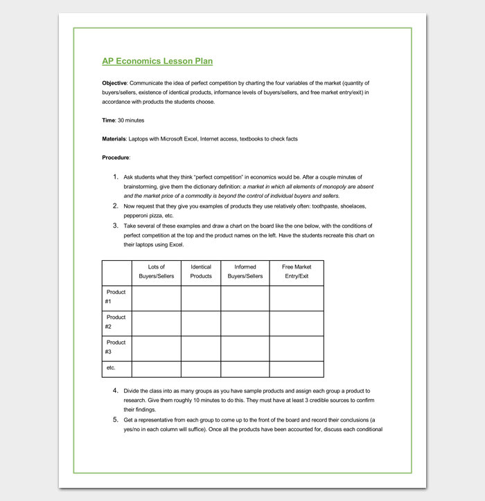 Preschool Lesson Plan Outline Template for Word Doc