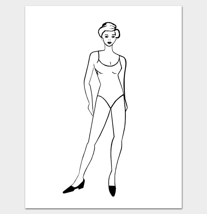 Printable Outline of Female Body Shape