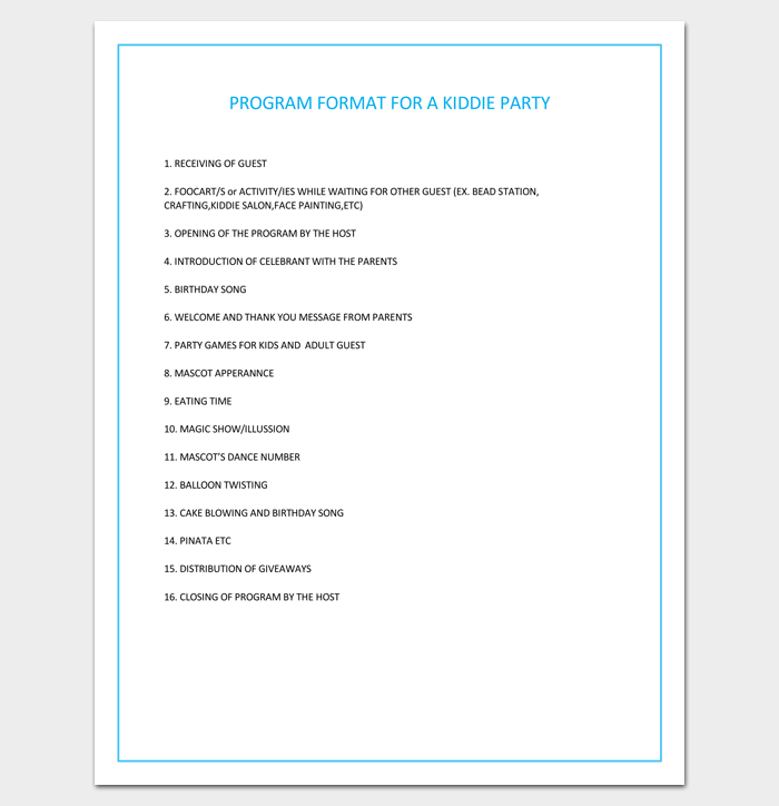 Program Format for a Kiddie Party
