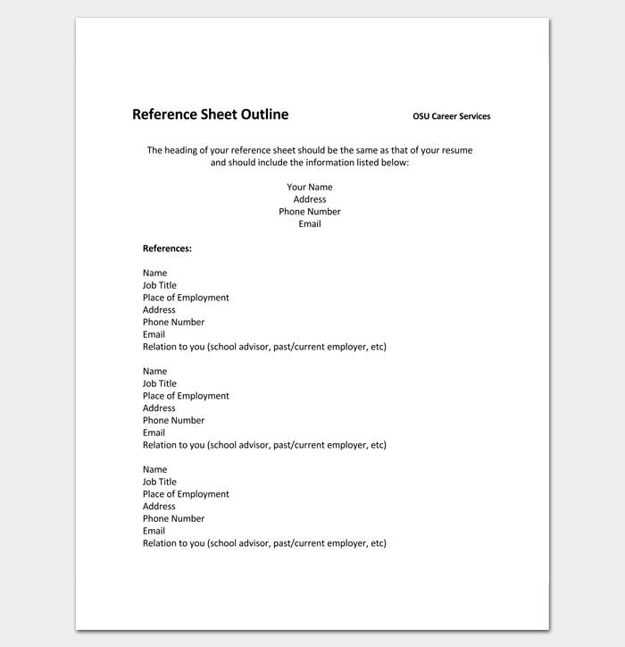 Reference Sheet Outline