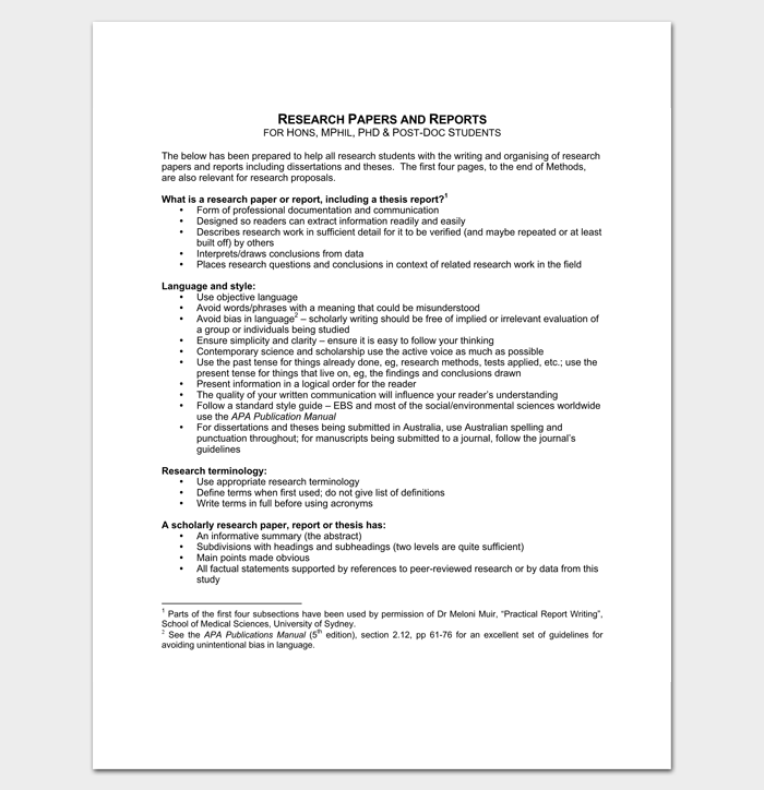 Research Report Outline