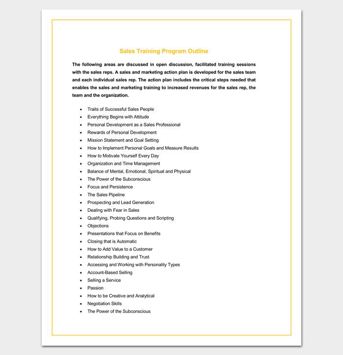 Sales Training Program Outline