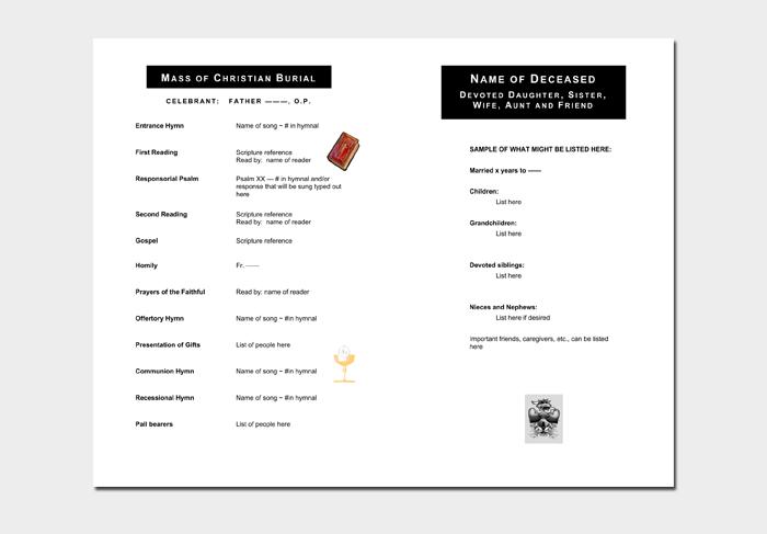 Sample Funeral Program Outline