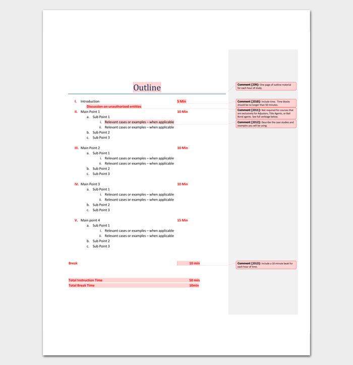 Sample Program Outline for Seminar