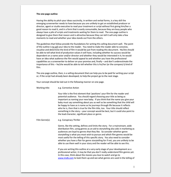 Screenplay Outline PDF Format