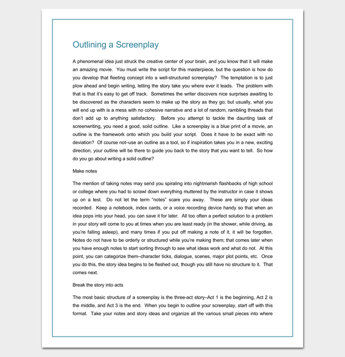 Screenplay Outline Template Word DOC