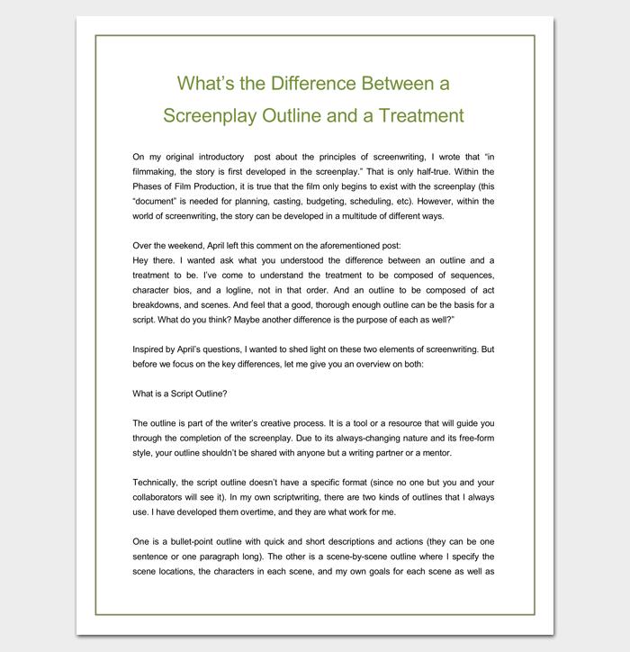 Screenplay Outline VS. Treatment