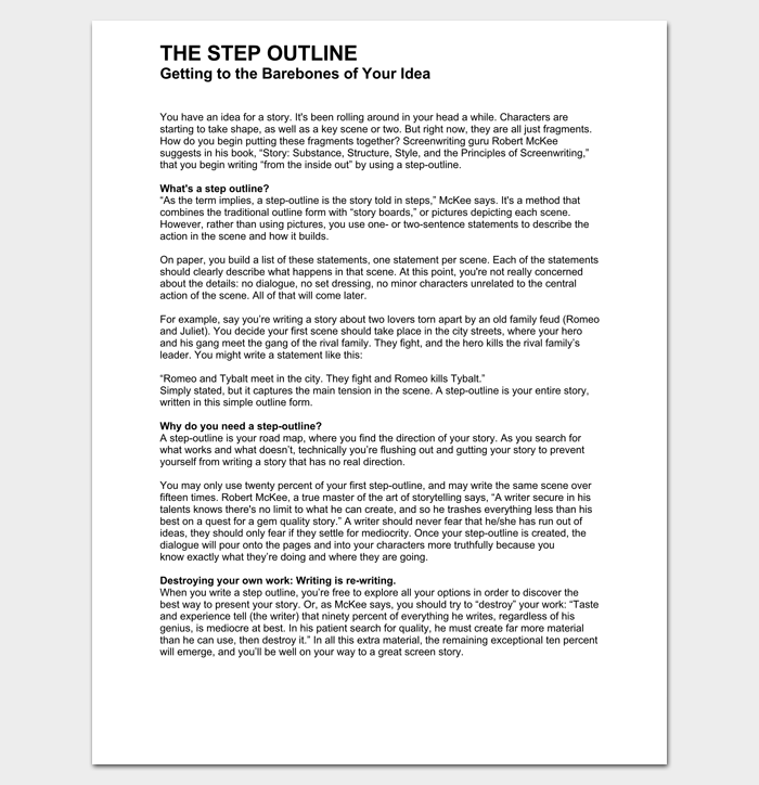 Screenplay Step Outline Example