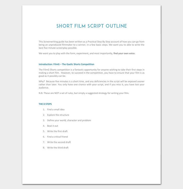 Short-Film-Script-Outline-for-Students-1 Television Script Format Example on sample play, radio news, musical play, tv pilot, standard stage play, sample tv, texts screen,