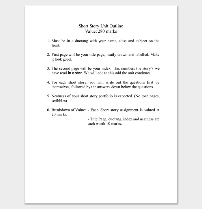 story outline template