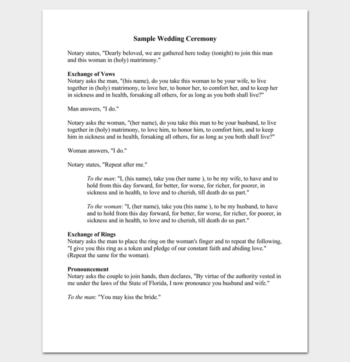 Simple Wedding Ceremony Outline