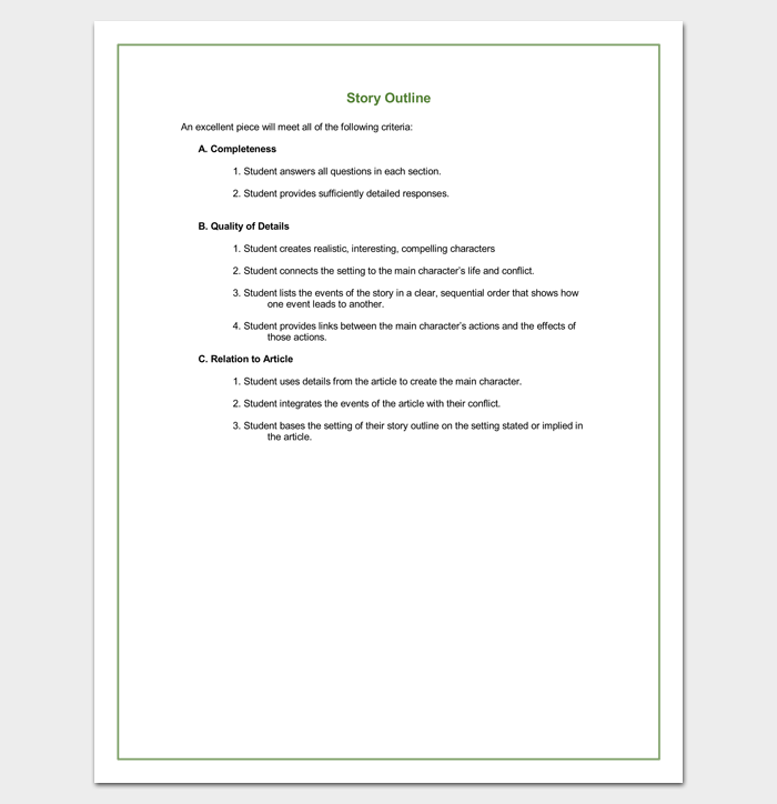 story outline template  15 for word and pdf format