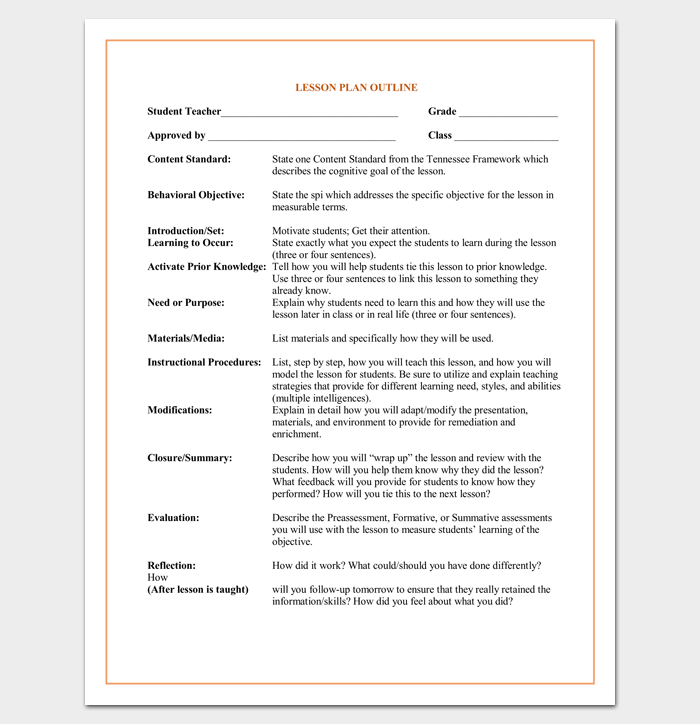 Student Lesson Plan Outline Template