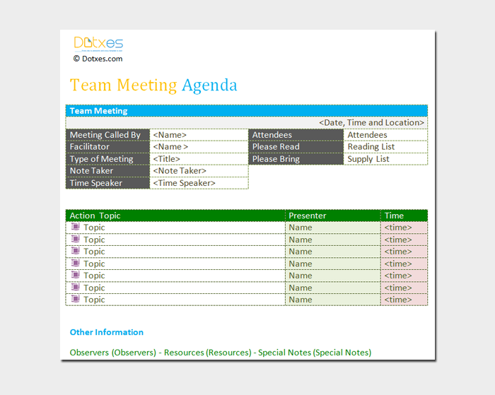 Team Meeting Agenda Outline Word Doc