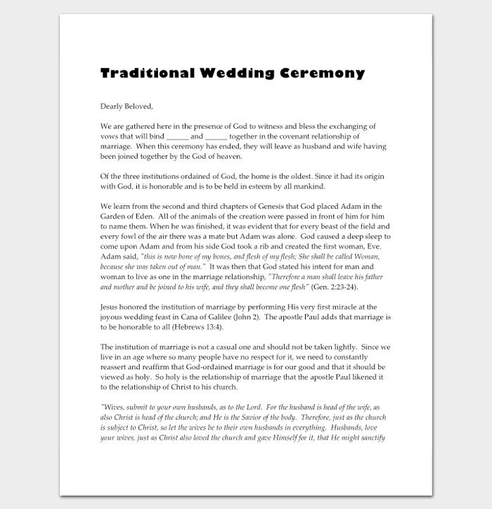 Traditional Wedding Ceremony Outline Template