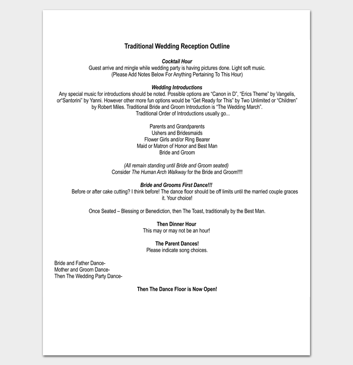 Traditional Wedding Reception Outline Template