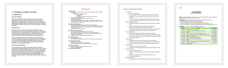 Training Course Outline Templates