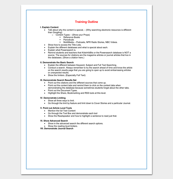 training course outline template