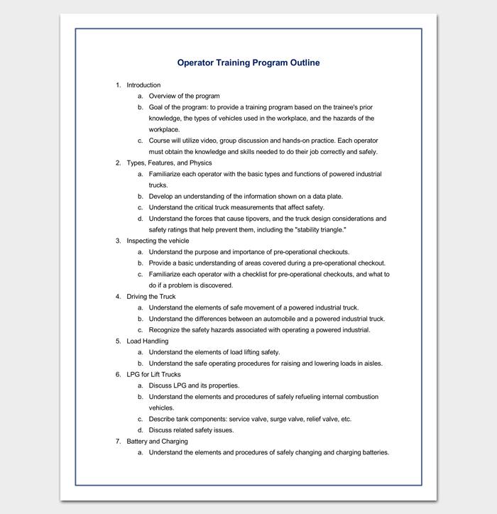 Training Program Outline Sample