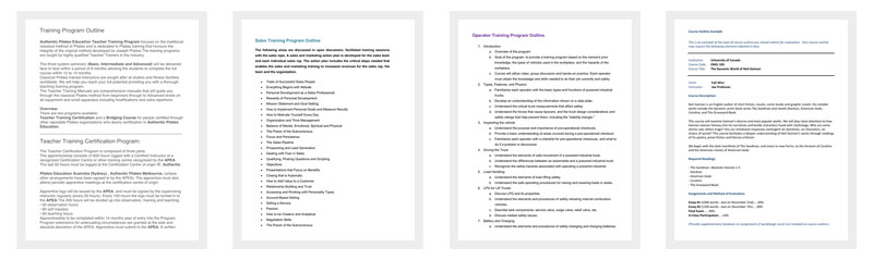 Training Program Outline Template